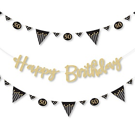 Adult 50th Birthday - Gold - Birthday Party Letter Banner Decoration - 36 Banner Cutouts and No-Mess Real Gold Glitter Happy Birthday Banner Letters
