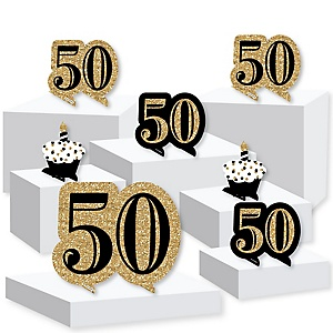 Adult 50th Birthday - Gold - Birthday Party Centerpiece and Buffet Table Decor - Tabletop Standups - Set of 7