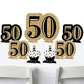 Adult 50th Birthday - Gold - Birthday Party Centerpiece Table Decorations - Tabletop Standups - 7 Pieces