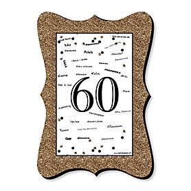 Adult 60th Birthday - Gold - Unique Alternative Guest Book - 60th Birthday Party Signature Mat