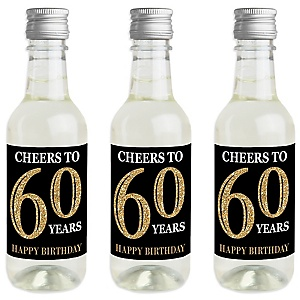 Adult 60th Birthday - Gold - Mini Wine and Champagne Bottle Label Stickers - Birthday Party Favor Gift - For Women and Men - Set of 16