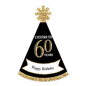 Adult 60th Birthday - Gold - Personalized Mini Cone Birthday Party Hats - Small Little Party Hats - Set of 10