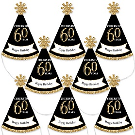 Adult 60th Birthday - Gold - Mini Cone Birthday Party Hats - Small Little Party Hats - Set of 8