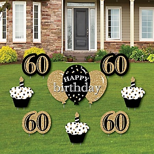 Adult 60th Birthday - Gold - Yard Sign & Outdoor Lawn Decorations - Birthday Party Yard Signs - Set of 8