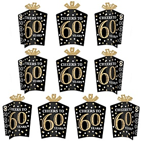 Adult 60th Birthday - Gold - Table Decorations - Birthday Party Fold and Flare Centerpieces - 10 Count
