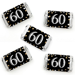 Adult 60th Birthday - Gold - Mini Candy Bar Wrapper Stickers - Birthday Party Small Favors - 40 Count