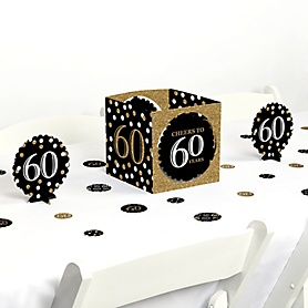 Adult 60th Birthday - Gold - Birthday Party Centerpiece and Table Decoration Kit