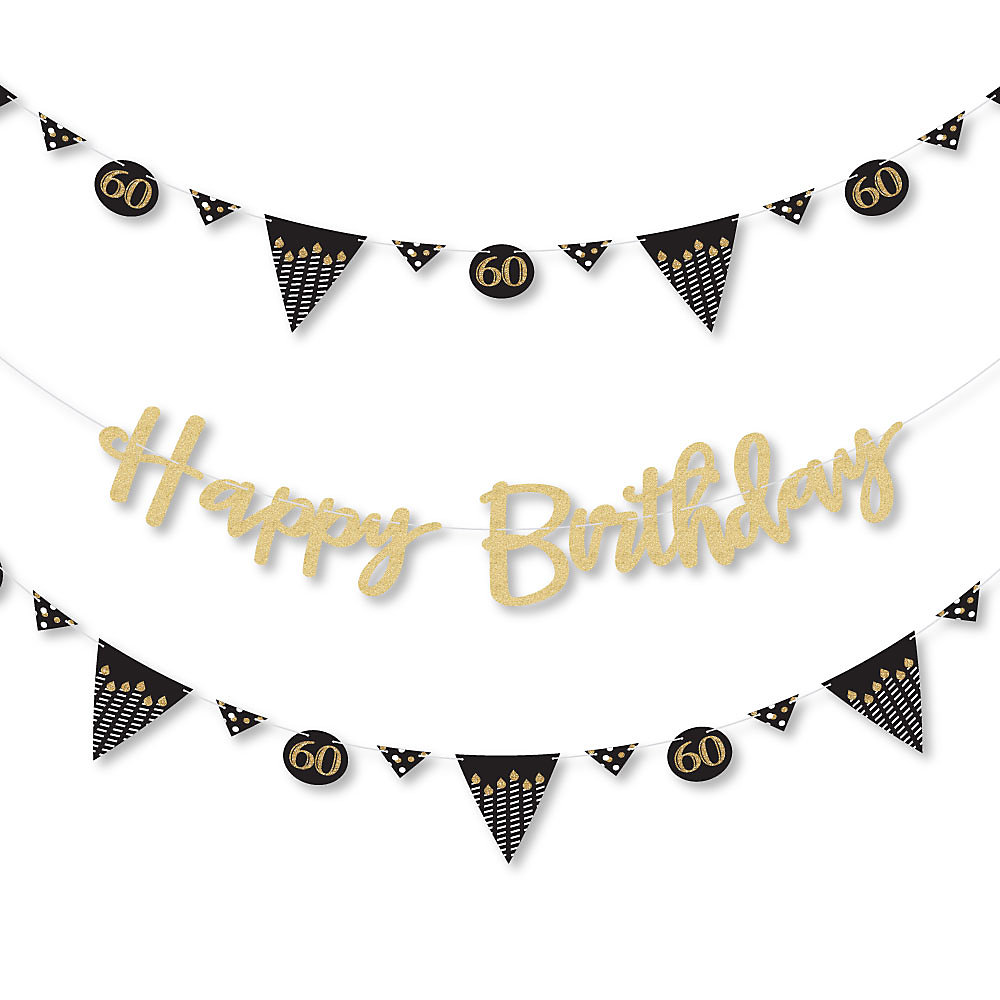 f971ddcbd310 Adult 60th Birthday - Gold - Birthday Party Letter Banner Decoration ...