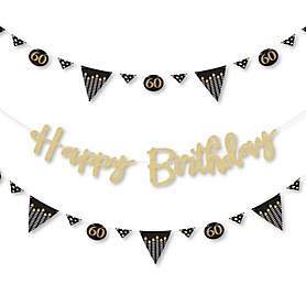 Adult 60th Birthday - Gold - Birthday Party Letter Banner Decoration - 36 Banner Cutouts and No-Mess Real Gold Glitter Happy Birthday Banner Letters