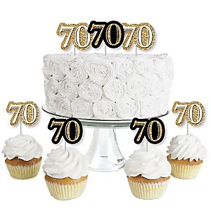 Adult 70th Birthday - Gold - Dessert Cupcake Toppers - Birthday Party Clear Treat Picks - Set of 24