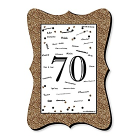 Adult 70th Birthday - Gold - Unique Alternative Guest Book - 70th Birthday Party Signature Mat