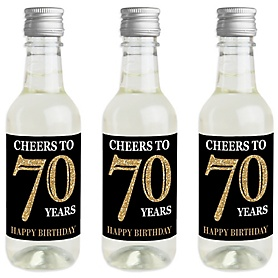 Adult 70th Birthday - Gold - Mini Wine and Champagne Bottle Label Stickers - Birthday Party Favor Gift - For Women and Men - Set of 16