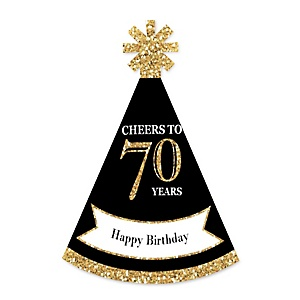 Adult 70th Birthday - Gold - Personalized Mini Cone Birthday Party Hats - Small Little Party Hats - Set of 10