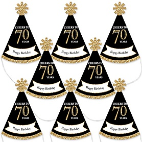 Adult 70th Birthday - Gold - Mini Cone Birthday Party Hats - Small Little Party Hats - Set of 8