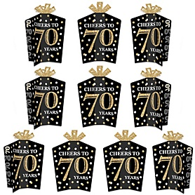 Adult 70th Birthday - Gold - Table Decorations - Birthday Party Fold and Flare Centerpieces - 10 Count