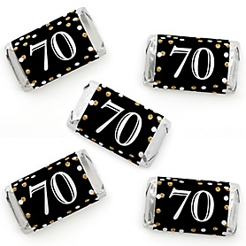 Adult 70th Birthday - Gold - Mini Candy Bar Wrapper Stickers - Birthday Party Small Favors - 40 Count