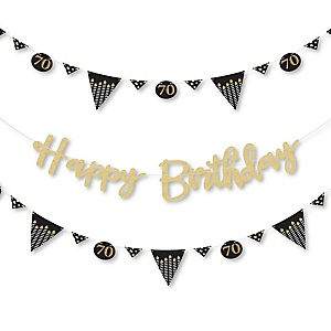 Adult 70th Birthday - Gold - Birthday Party Letter Banner Decoration - 36 Banner Cutouts and No-Mess Real Gold Glitter Happy Birthday Banner Letters