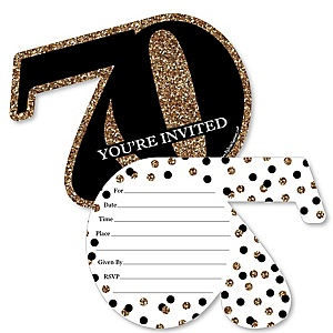 Adult 70th Birthday - Gold - Shaped Fill-In Invitations - Birthday Party Invitation Cards with Envelopes - Set of 12