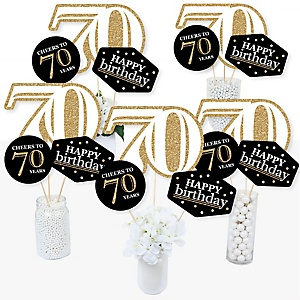Adult 70th Birthday - Gold - Birthday Party Centerpiece Sticks - Table Toppers - Set of 15