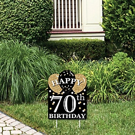 Adult 70th Birthday - Gold - Outdoor Lawn Sign - Birthday Party Yard Sign - 1 Piece