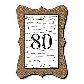 Adult 80th Birthday - Gold - Unique Alternative Guest Book - 80th Birthday Party Signature Mat