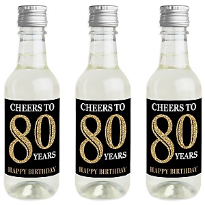 Adult 80th Birthday - Gold - Mini Wine and Champagne Bottle Label Stickers - Birthday Party Favor Gift - For Women and Men - Set of 16