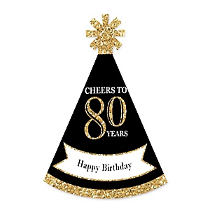 Adult 80th Birthday - Gold - Personalized Mini Cone Birthday Party Hats - Small Little Party Hats - Set of 10