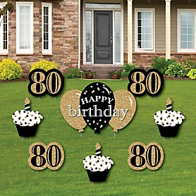 Adult 80th Birthday - Gold - Yard Sign & Outdoor Lawn Decorations - Birthday Party Yard Signs - Set of 8