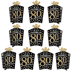 Adult 80th Birthday - Gold - Table Decorations - Birthday Party Fold and Flare Centerpieces - 10 Count