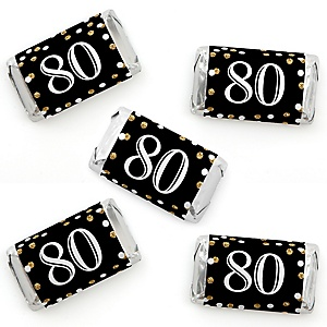 Adult 80th Birthday - Gold - Mini Candy Bar Wrapper Stickers - Birthday Party Small Favors - 40 Count