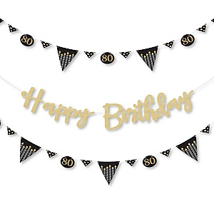 Adult 80th Birthday - Gold - Birthday Party Letter Banner Decoration - 36 Banner Cutouts and No-Mess Real Gold Glitter Happy Birthday Banner Letters