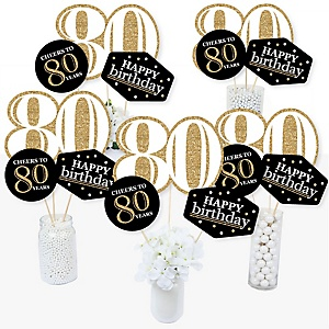 Adult 80th Birthday - Gold - Birthday Party Centerpiece Sticks - Table Toppers - Set of 15