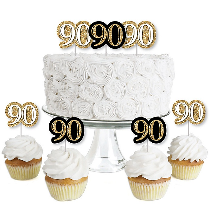 Adult 90th Birthday - Gold - Dessert Cupcake Toppers - Birthday Party Clear Treat Picks - Set of 24