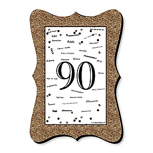 Adult 90th Birthday - Gold - Unique Alternative Guest Book - 90th Birthday Party Signature Mat
