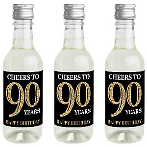 Adult 90th Birthday - Gold - Mini Wine and Champagne Bottle Label Stickers - Birthday Party Favor Gift - For Women and Men - Set of 16