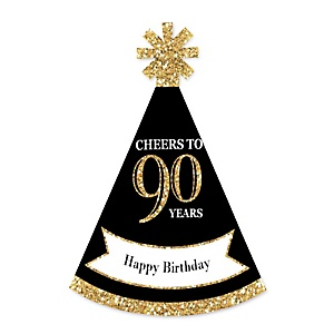 Adult 90th Birthday - Gold - Personalized Mini Cone Birthday Party Hats - Small Little Party Hats - Set of 10