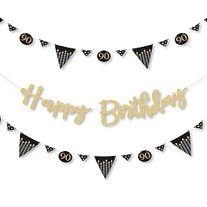 Adult 90th Birthday - Gold - Birthday Party Letter Banner Decoration - 36 Banner Cutouts and No-Mess Real Gold Glitter Happy Birthday Banner Letters