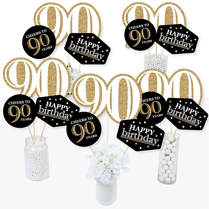 Adult 90th Birthday - Gold - Birthday Party Centerpiece Sticks - Table Toppers - Set of 15