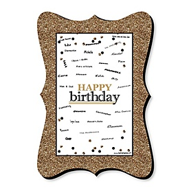Adult Happy Birthday - Gold - Unique Alternative Guest Book - Birthday Party Signature Mat