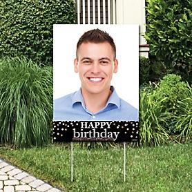 Adult Happy Birthday - Gold - Photo Yard Sign - Birthday Party Decorations