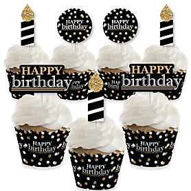 Adult Happy Birthday - Gold - Cupcake Decoration - Birthday Party Cupcake Wrappers and Treat Picks Kit - Set of 24