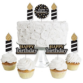 Adult Happy Birthday - Gold - Dessert Cupcake Toppers - Birthday Party Clear Treat Picks - Set of 24