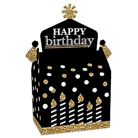 Adult Happy Birthday - Gold - Treat Box Party Favors - Birthday Party Goodie Gable Boxes - Set of 12