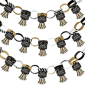 Adult Happy Birthday - Gold - 90 Chain Links and 30 Paper Tassels Decoration Kit - Birthday Party Paper Chains Garland - 21 feet