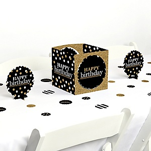 Adult Happy Birthday - Gold - Birthday Party Centerpiece and Table Decoration Kit