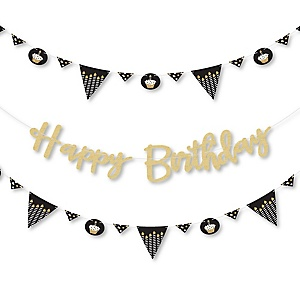 Adult Happy Birthday - Gold - Birthday Party Letter Banner Decoration - 36 Banner Cutouts and No-Mess Real Gold Glitter Happy Birthday Banner Letters