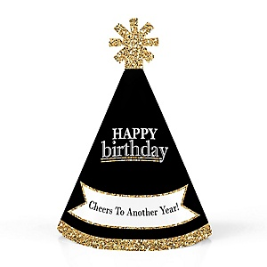Adult Happy Birthday - Gold - Personalized Mini Cone Birthday Party Hats - Small Little Party Hats - Set of 10