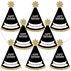 Adult Happy Birthday - Gold - Mini Cone Birthday Party Hats - Small Little Party Hats - Set of 8