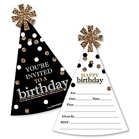 Adult Happy Birthday - Gold - Shaped Fill-In Invitations - Birthday Party Invitation Cards with Envelopes - Set of 12