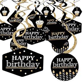 Adult Happy Birthday - Gold - Birthday Party Hanging Decor - Party Decoration Swirls - Set of 40